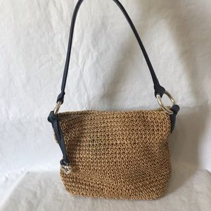Brighton Straw Woven Navy Leather Shoulder Bag